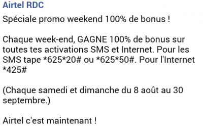 Airtel RDC Promo Week-End