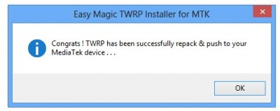 TWRP has been successfully installed 400x159 Comment Installer TWRP recovery sur un Smartphone Android Mediatek