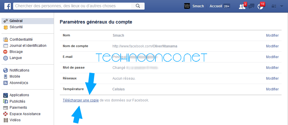 Telecharger une copie Facebook