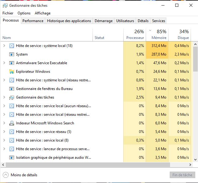 Windows 10 RAM saturee