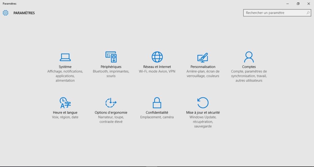 Parametres Windows 10