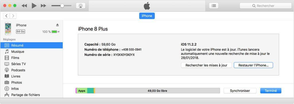 itunes restaurer liPhone 1024x364 Comment activer un iPhone désactivé avec iTunes - iPad désactivé, iPod désactivé
