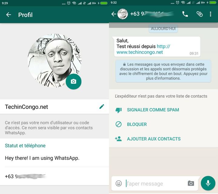 Preuve WhatsApp Faux Numero