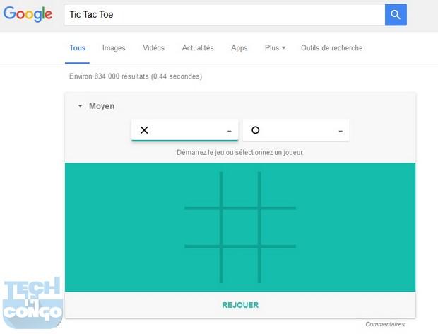 Tic Tac Toe Top 5 Jeux cachés dans le moteur de recherche Google