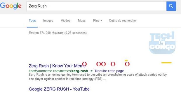 Zerg Rush Top 5 Jeux cachés dans le moteur de recherche Google