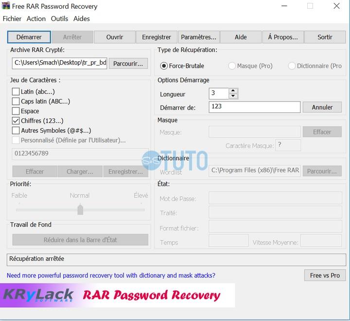 Free RAR Password Recovery Comment cracker un mot de passe d'un fichier WinRAR crypté
