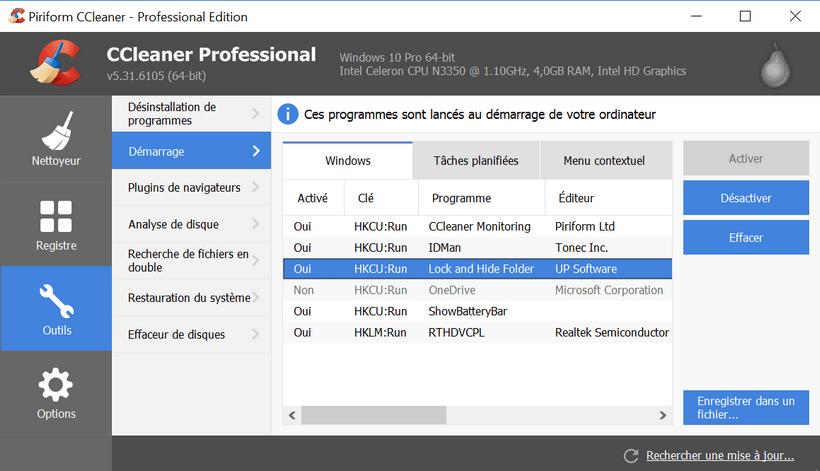 desactiver programme avec ccleaner Désactiver l'exécution automatique d'un programme au démarrage de Windows 10/8/7