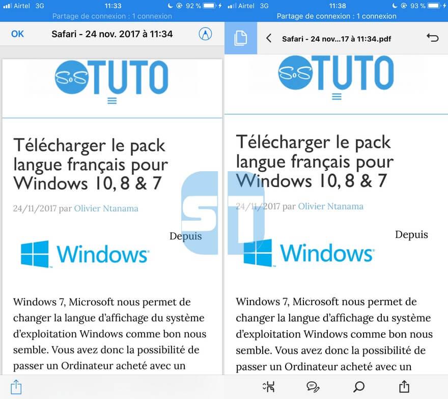 creation PDF avec Safari Enregistrer une page web au format PDF sur iPhone dans iOS 11