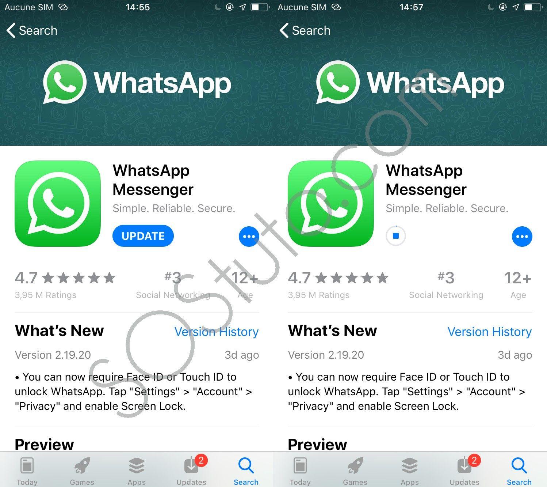 Mise à jour WhatsApp 2 Méthodes pour Protéger WhatsApp sur iPhone avec mot de passe ou Touch ID ou Face ID