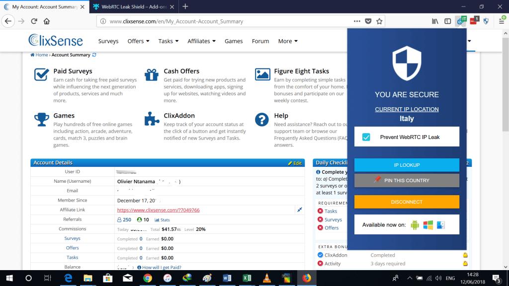 Clixsense avec un VPN 1024x576 ClixSense avis : j'ai gagné 34.92 $ + preuve de paiement
