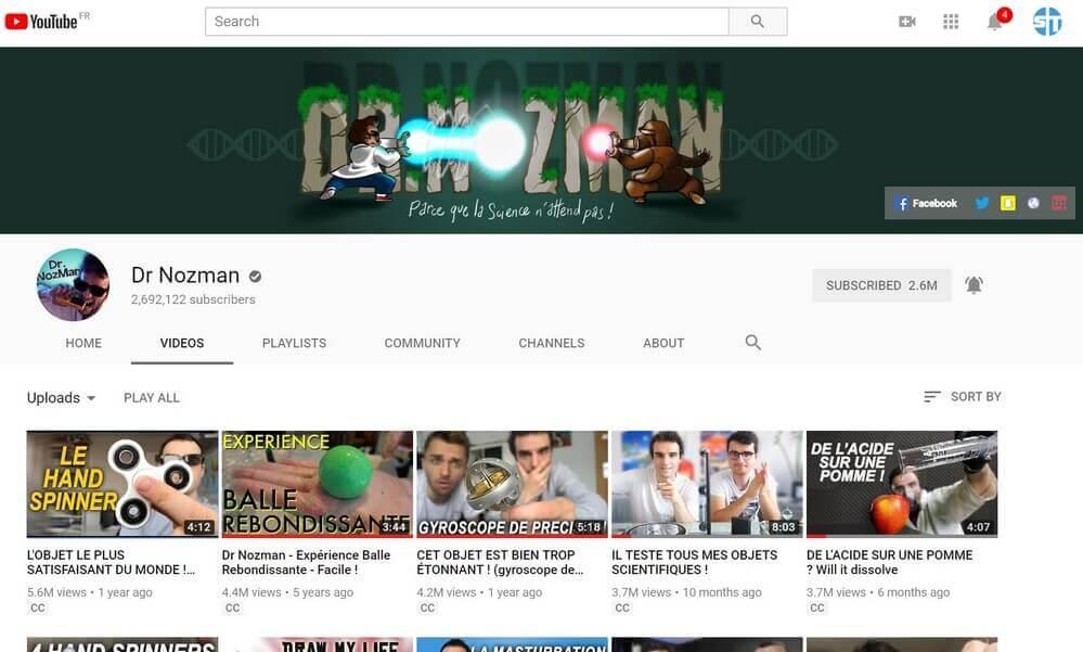 Dr Nozman sur YouTube 10 +10 chaines YouTube pour les Geeks et suivre l'actu Informatique