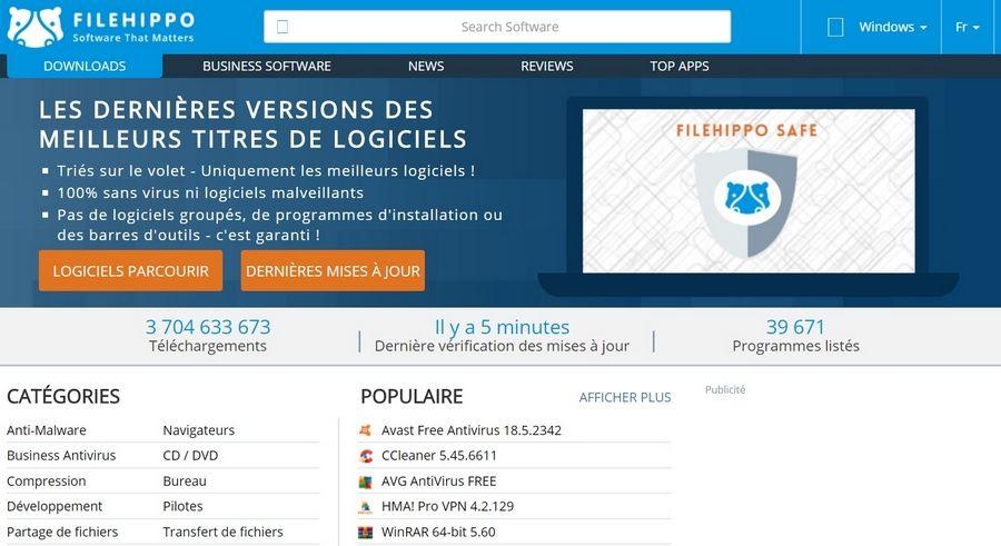 FileHippo 2018 Top 10 Sites de Téléchargement de logiciels pour Windows en 2019