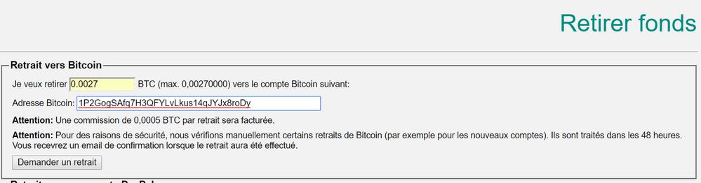 Retrait BTC vers adresse bitcoin Acheter des bitcoins rapidement, sans vérification avec PayPal