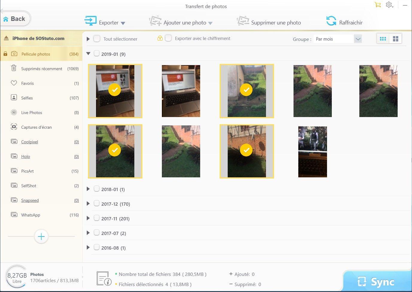 Transfert des photos iPhone 3 étapes pour transférer les photos d'un iPhone vers un PC sans iTunes