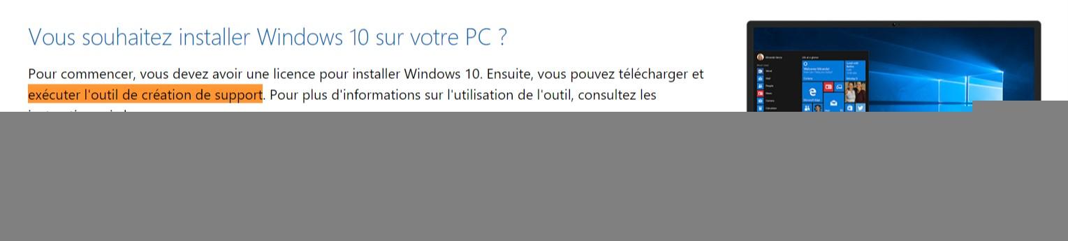 Telecharger loutil de creation de media de Windows 10 Télécharger Windows 10 32 bits/64 bits français ISO (Depuis Microsoft.com)
