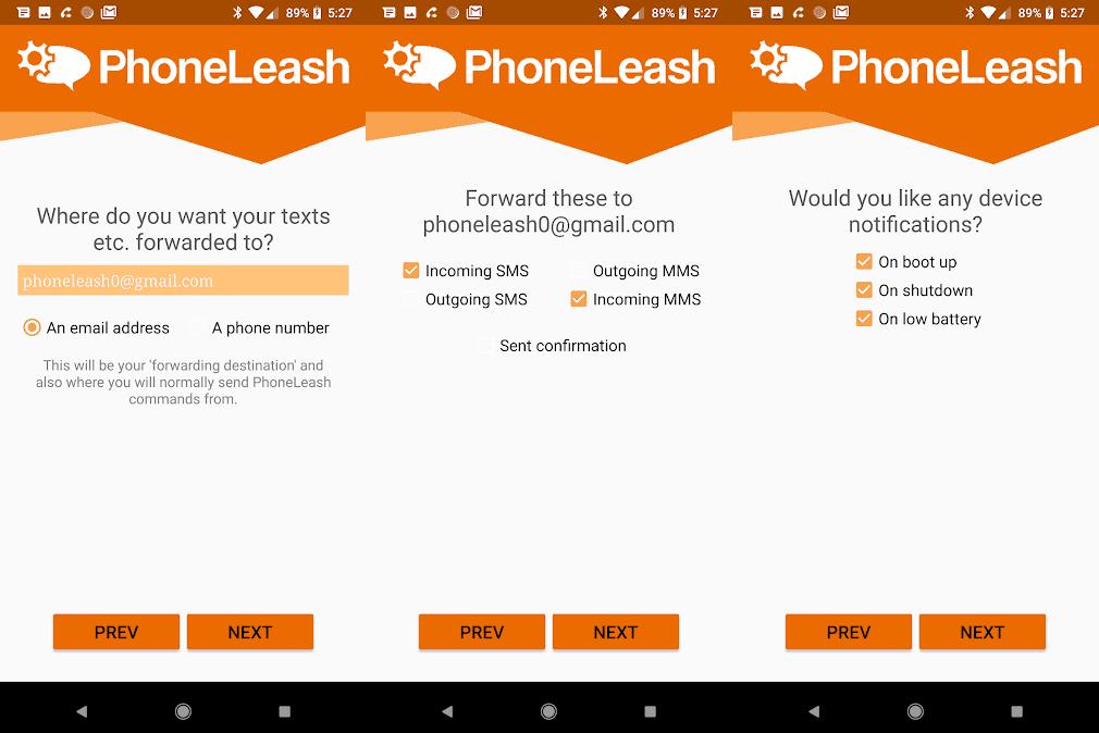 PhoneLeash Transférer Automatiquement Ses SMS Vers Sa Boite Mail ou Un Autre Numéro
