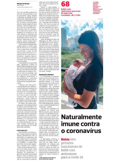 Matéria do jornal Correio fala de bebês que nasceram com anticorpos contra o Coronavírus