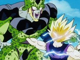 Super Saiyan Gohan punching Cell - DBZ Anime Screenshot
