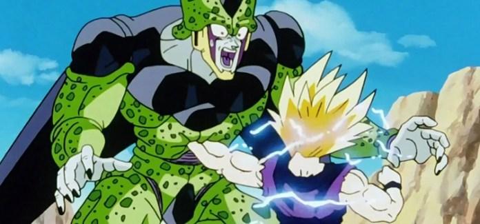 Super Saiyan Gohan punching Cell - DBZ Anime Screenshot