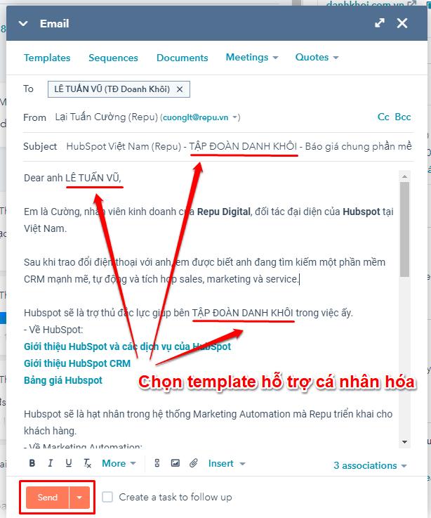 HubSpot CRM & Sales Hub - Sử dụng Email Templates nhanh-HubSpot Việt Nam-Repu-03-Cá nhân hóa
