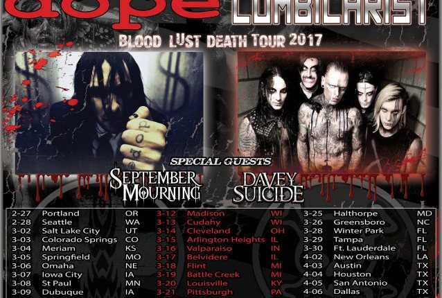 DOPE And COMBICHRIST Announce 'Blood, Lust, Death' Tour