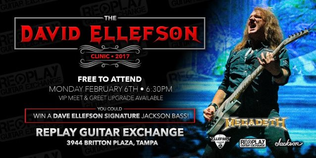 MEGADETH's DAVID ELLEFSON: Video Footage Of Replay Guitar Exchange Clinic In Tampa, Florida