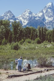 Painter at Lower Schwabacher Landing, Grand Tetons