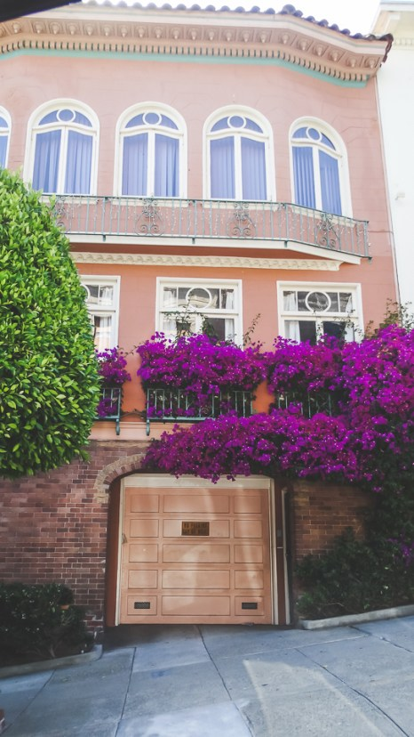 Hayes Valley house above garage with bougainvillea