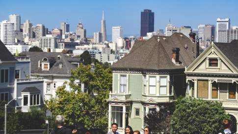 San Francisco's Alamo Square Park with downtown behind it