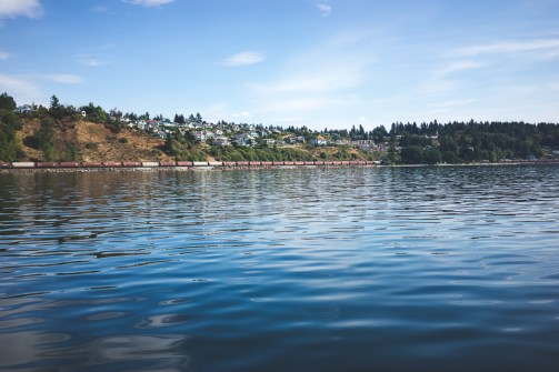 The calm waters of Puget Sound, with freight train