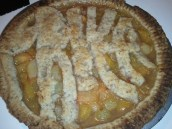 The pie my friend Priya and I baked for her birthday. We carved her name for the topping.