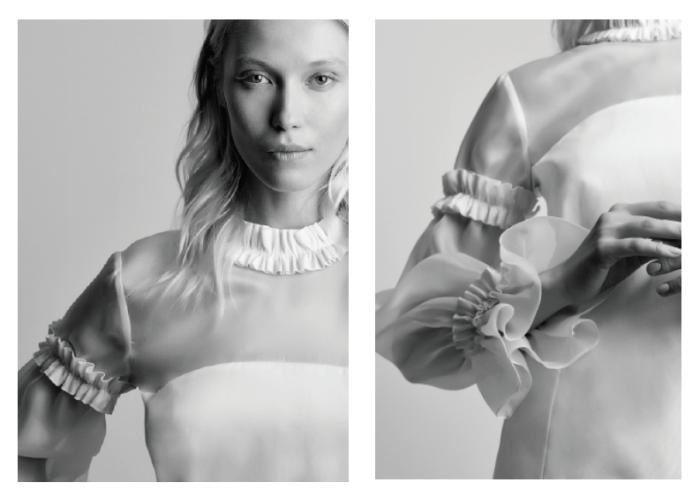 AZELINE, a été confectionnée dans un organza de soie. Cette blouse aux codes forts et aux finitions raffinées en font une pièce d'exception, signature de la Maison ANNE FONTAINE. Prix 750€