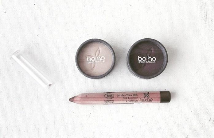 Le Look Makeup Sunlight Glow de chez BOHO Green Make-up : fards à paupière 8,95 euros et crayon jumbo 6,99 euros