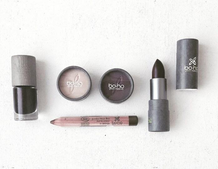 Le Look Makeup Sunlight Glow de chez BOHO Green Make-up : vernis 5,99 euros et rouge à lèvres 9,95 euros