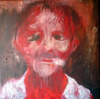 School girl or boy ? Acrylique et brou de noix sur toile, 120 x 120 cm. 2004