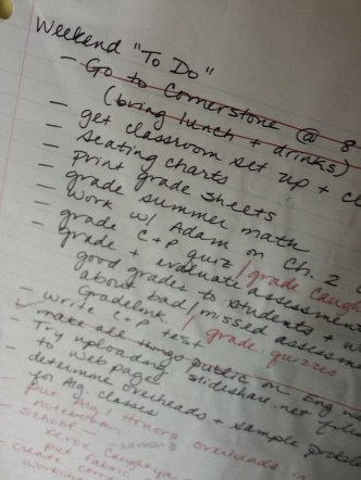 """Cleaning out a drawer, I found these two pieces of paper. Above, a typical weekend """"To Do"""" list when I was teaching..."""