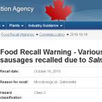 【安心・安全】カナダ食品検査局:「食品リコール警告- サルモネラによりリコールされたさまざまな即席ドライソーセージ」より