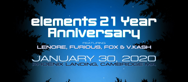 Elements 21 year anniversary, January 30th, 2020 at The Phoenix Landing