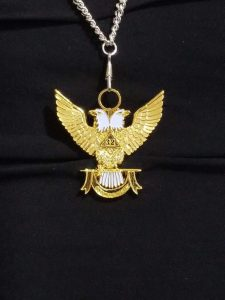 """32nd-Degree-Double-Headed-Eagle-Medallion-""""Wings-Up""""-blue-ribbon"""