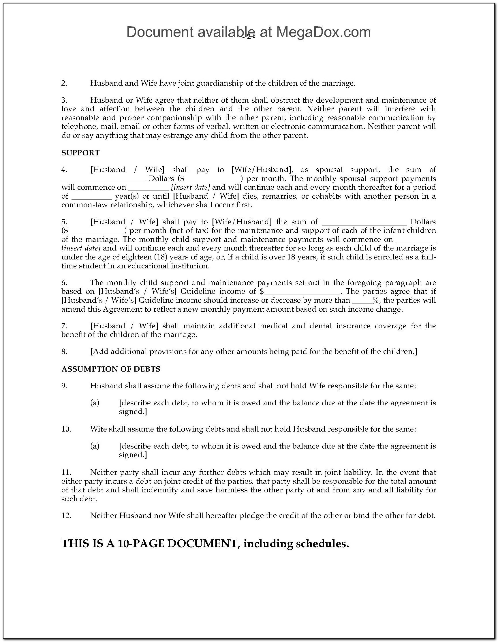 Free Separation Agreement Template Uk