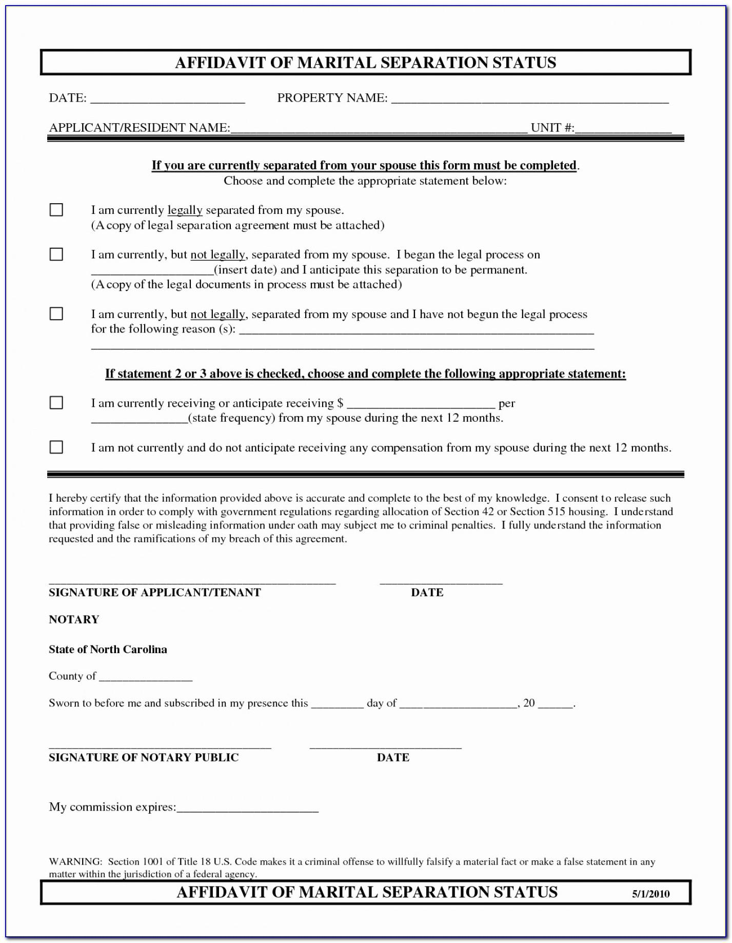 Marital Separation Agreement Template Virginia