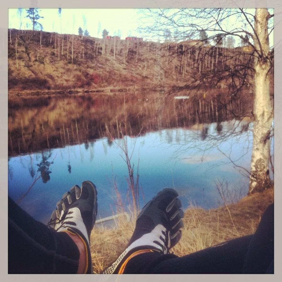 Löpning i Sollefteå - Vila vid älven