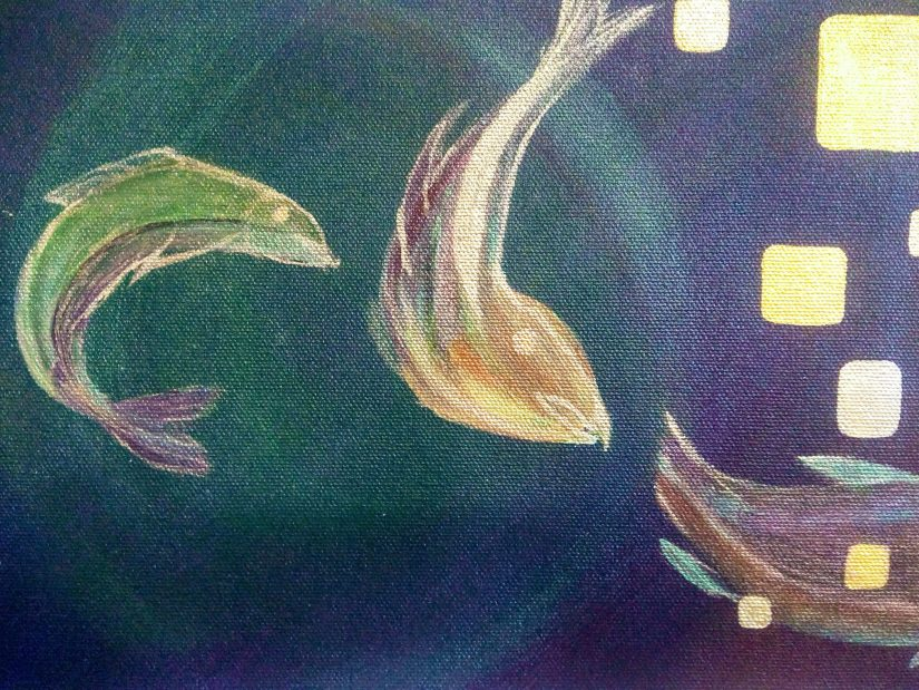 acrylic painting purple background with shimmering salmon