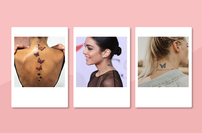 Butterfly Tattoos on the Nape of your neck