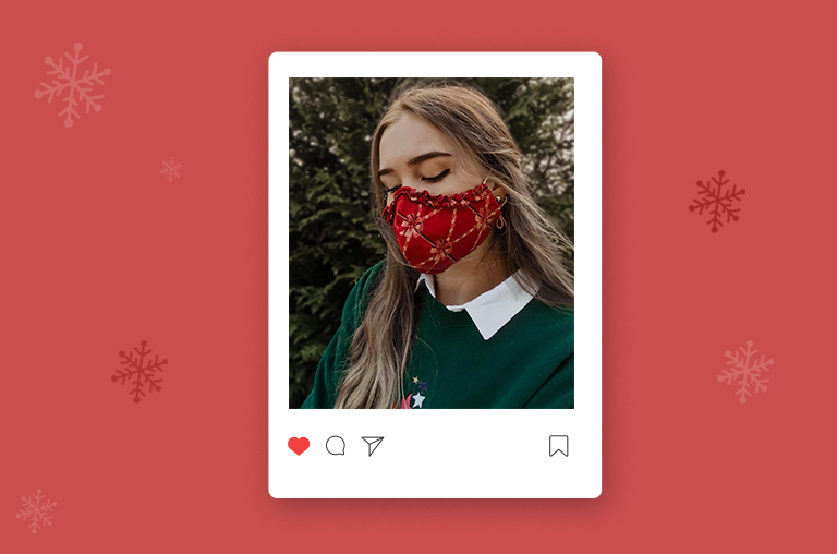 christmas themed face masks - Holiday Ruffle Mask