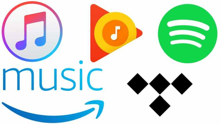 Apple Music, Google Play, Spotify, Amazon Music, Tindal
