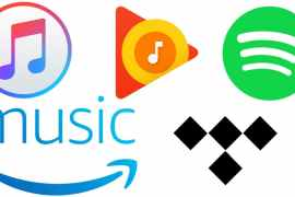 Apple Music, Google Play, Spotify, Amazon Music, Tindal