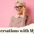"A woman talks on the phone with the caption ""Coversations with My Mom"""