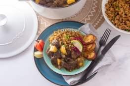 curry goat jamaican jamaicaanse rice and peas recept