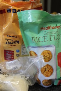 I'm using Bakels gluten-free flour and Healtheries Rice Flour plus ground almonds.